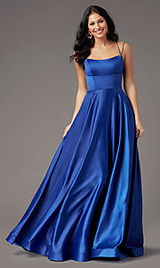Image of open-back long satin formal prom dress by PromGirl. Style: PG-B2010 Front Image