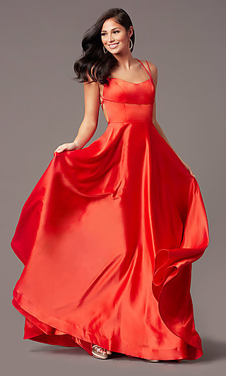 Open-Back Long Satin Formal Prom Dress by PromGirl