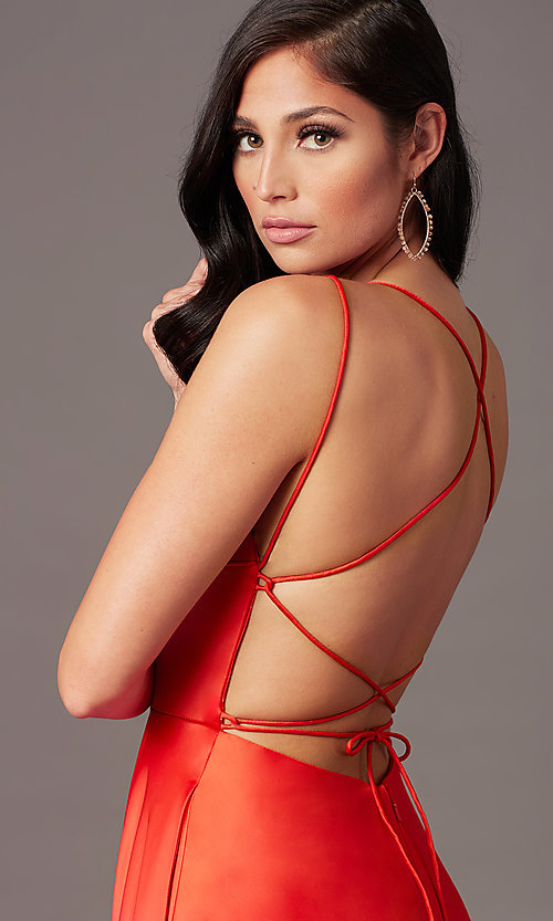 Image of open-back long satin formal prom dress by PromGirl. Style: PG-B2010 Detail Image 1