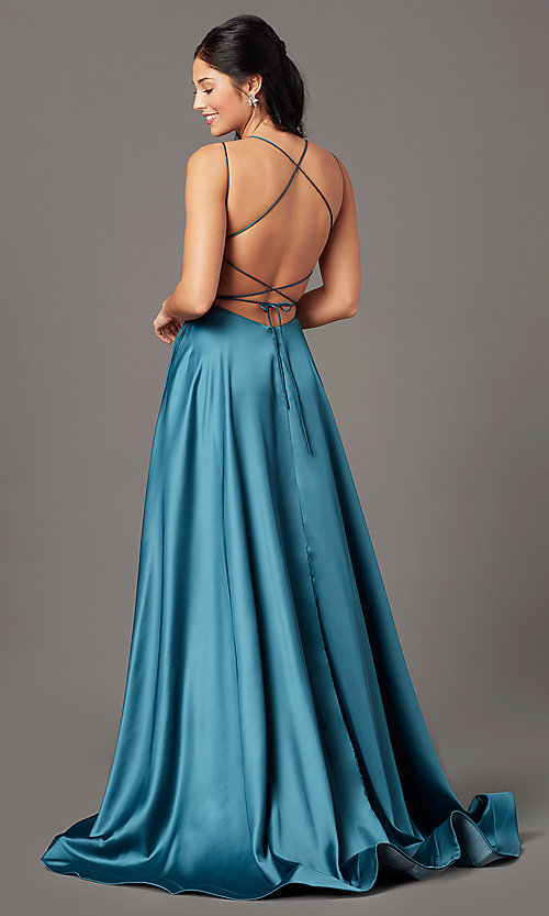 Image of open-back long satin formal prom dress by PromGirl. Style: PG-B2010 Detail Image 3