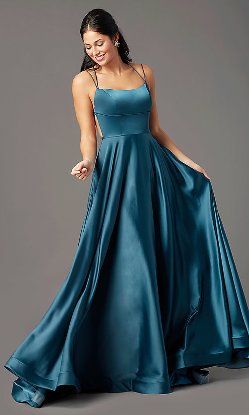 Image of open-back long satin formal prom dress by PromGirl. Style: PG-B2010 Detail Image 2