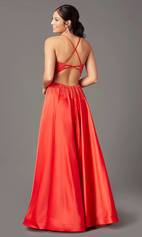 Image of PromGirl satin long formal prom dress with pockets. Style: PG-B2019 Front Image