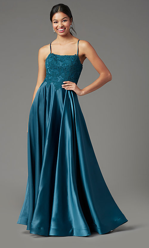 Image of PromGirl satin long formal prom dress with pockets. Style: PG-B2019 Detail Image 6