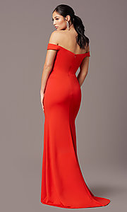 Image of PromGirl long off-the-shoulder formal prom dress. Style: PG-B2028 Back Image