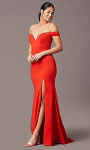 Image of PromGirl long off-the-shoulder formal prom dress. Style: PG-B2028 Detail Image 2