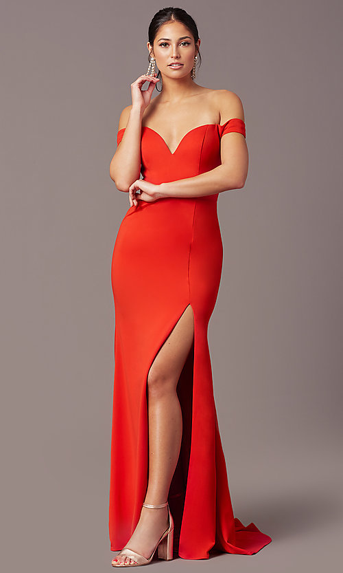 Image of PromGirl long off-the-shoulder formal prom dress. Style: PG-B2028 Front Image