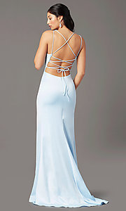 Image of open-back long empire-waist prom dress by PromGirl. Style: PG-B2030 Back Image