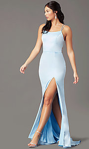 Image of open-back long empire-waist prom dress by PromGirl. Style: PG-B2030 Detail Image 2