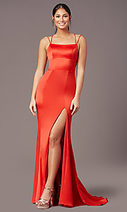Image of open-back long empire-waist prom dress by PromGirl. Style: PG-B2030 Detail Image 7