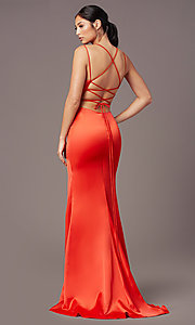 Image of open-back long empire-waist prom dress by PromGirl. Style: PG-B2030 Detail Image 8