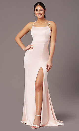 Open-Back Long Empire-Waist Prom Dress by PromGirl