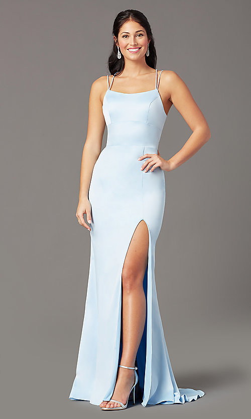 Image of open-back long empire-waist prom dress by PromGirl. Style: PG-B2030 Front Image