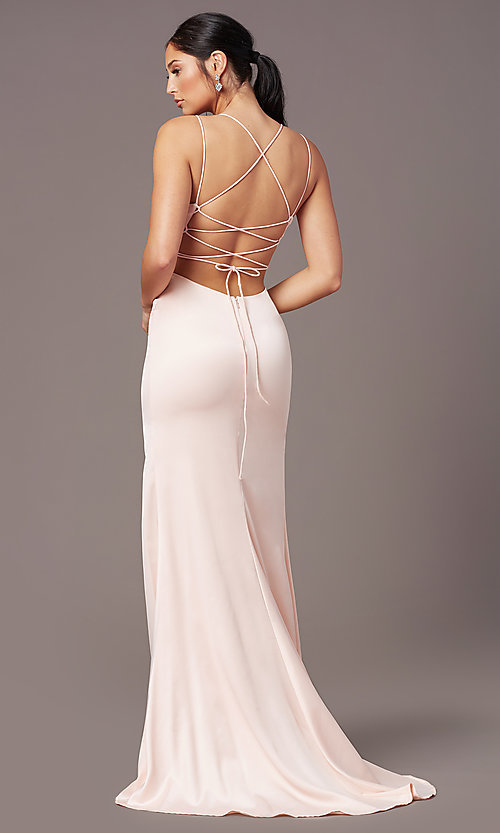 Image of open-back long empire-waist prom dress by PromGirl. Style: PG-B2030 Detail Image 4