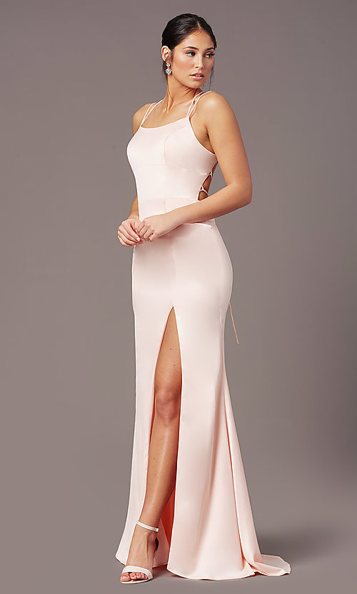 Image of open-back long empire-waist prom dress by PromGirl. Style: PG-B2030 Detail Image 6