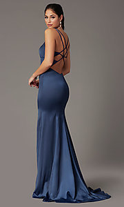 Image of blueberry blue open-back prom dress by PromGirl. Style: PG-B2035 Back Image