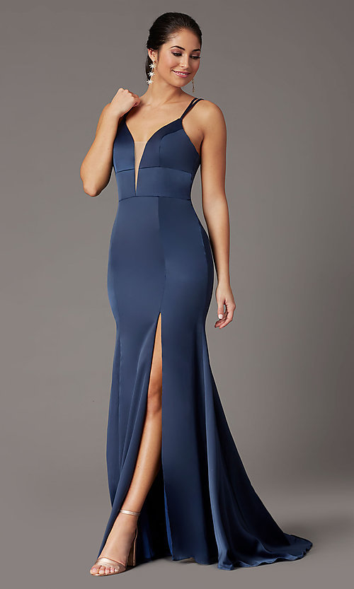 Image of blueberry blue open-back prom dress by PromGirl. Style: PG-B2035 Detail Image 1