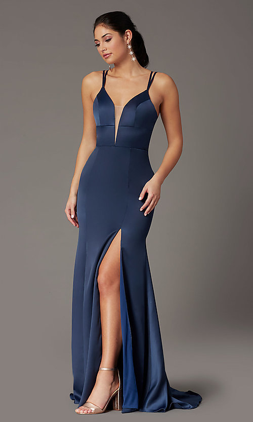 Image of blueberry blue open-back prom dress by PromGirl. Style: PG-B2035 Front Image