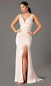 Image of long open-back satin prom dress by PromGirl. Style: PG-B2036 Back Image