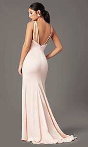 Image of long open-back satin prom dress by PromGirl. Style: PG-B2036 Front Image