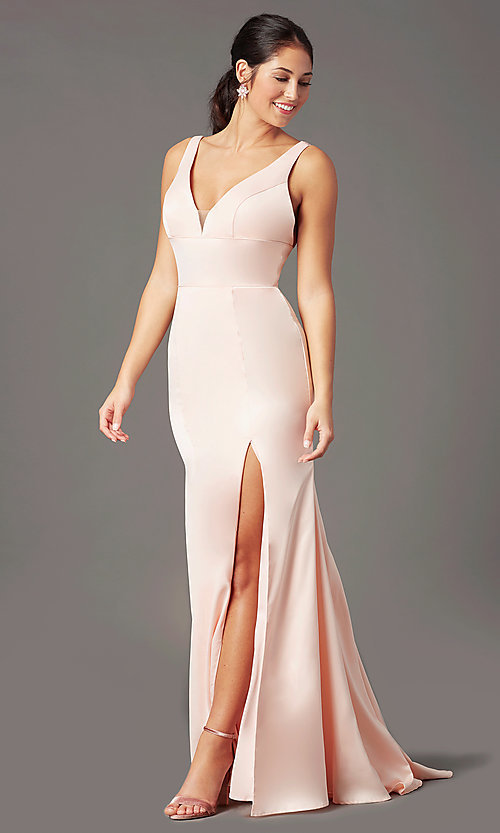 Image of long open-back satin prom dress by PromGirl. Style: PG-B2036 Detail Image 2