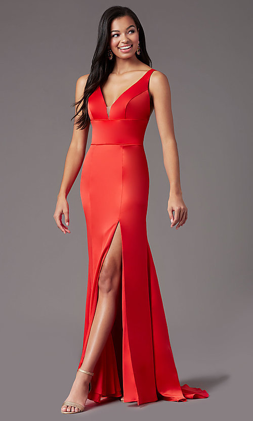 Image of long open-back satin prom dress by PromGirl. Style: PG-B2036 Detail Image 3