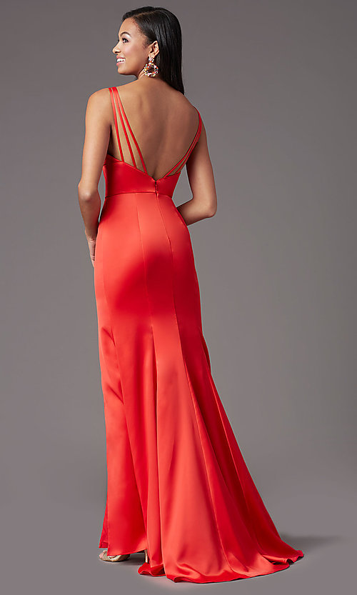 Image of long open-back satin prom dress by PromGirl. Style: PG-B2036 Detail Image 4