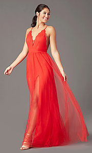 Image of open-back long tulle formal prom dress by PromGirl. Style: PG-B2042 Detail Image 2