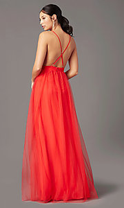 Image of open-back long tulle formal prom dress by PromGirl. Style: PG-B2042 Detail Image 3