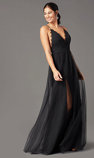 Open-Back Long Tulle Formal Prom Dress by PromGirl