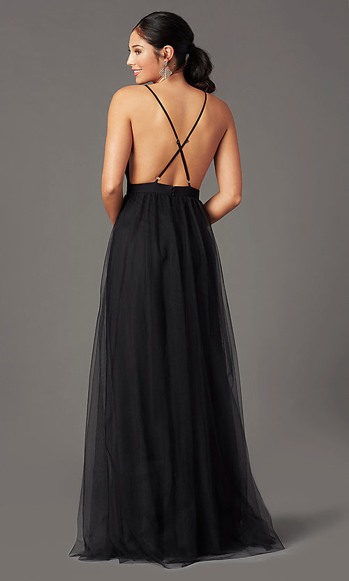 Image of open-back long tulle formal prom dress by PromGirl. Style: PG-B2042 Back Image