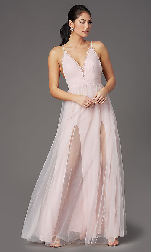 Image of open-back long tulle formal prom dress by PromGirl. Style: PG-B2042 Detail Image 6