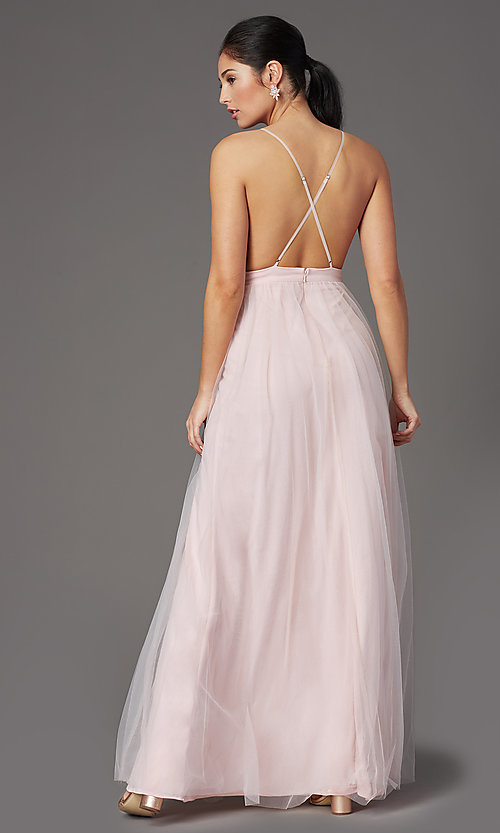 Image of open-back long tulle formal prom dress by PromGirl. Style: PG-B2042 Detail Image 7