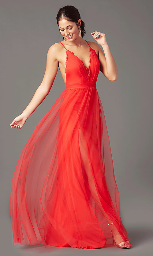 Image of open-back long tulle formal prom dress by PromGirl. Style: PG-B2042 Detail Image 5