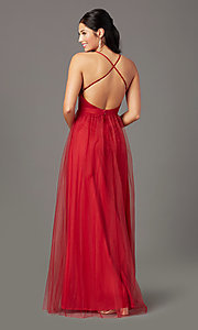 Image of chianti red long formal prom dress by PromGirl. Style: PG-B2043 Back Image