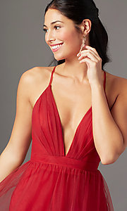Image of chianti red long formal prom dress by PromGirl. Style: PG-B2043 Detail Image 1