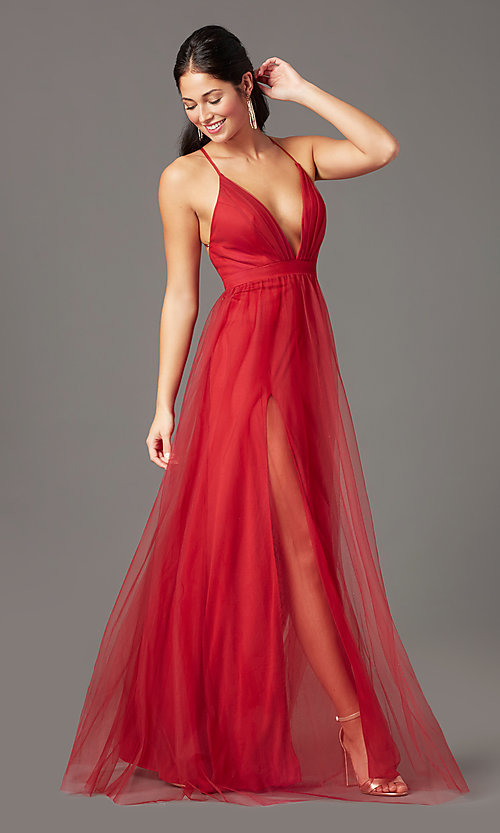 Image of chianti red long formal prom dress by PromGirl. Style: PG-B2043 Front Image