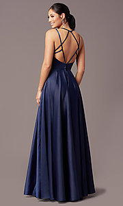 Image of satin long backless formal prom dress by PromGirl. Style: PG-F2004 Detail Image 4