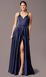 Image of satin long backless formal prom dress by PromGirl. Style: PG-F2004 Detail Image 3
