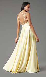 Image of satin long backless formal prom dress by PromGirl. Style: PG-F2004 Back Image