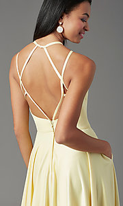 Image of satin long backless formal prom dress by PromGirl. Style: PG-F2004 Detail Image 1