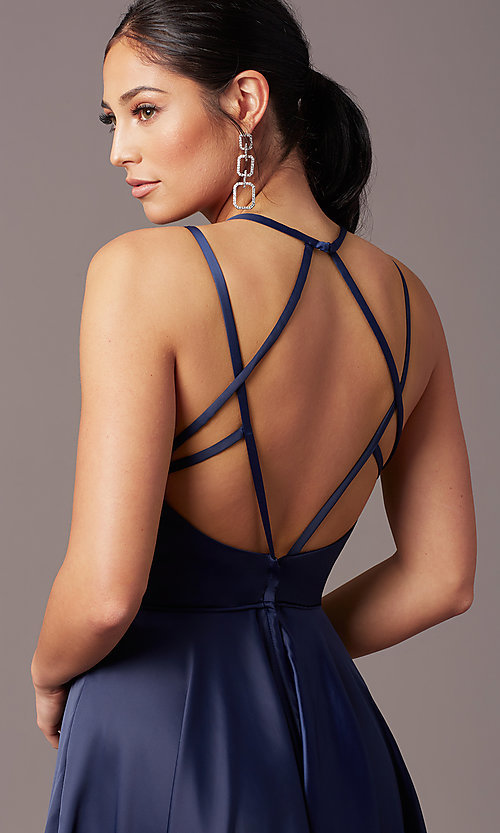 Image of satin long backless formal prom dress by PromGirl. Style: PG-F2004 Detail Image 5