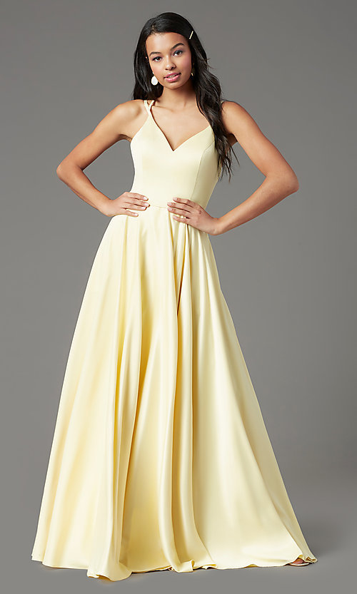 Image of satin long backless formal prom dress by PromGirl. Style: PG-F2004 Detail Image 2