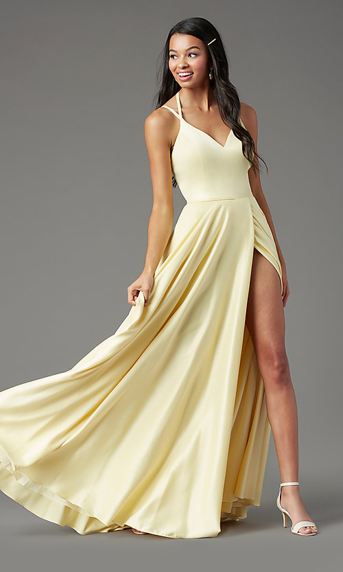 Image of satin long backless formal prom dress by PromGirl. Style: PG-F2004 Front Image