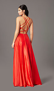 Image of multi-strap-back long satin prom dress by PromGirl. Style: PG-F2005 Back Image