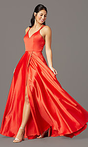 Image of multi-strap-back long satin prom dress by PromGirl. Style: PG-F2005 Front Image