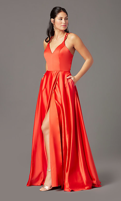 Image of multi-strap-back long satin prom dress by PromGirl. Style: PG-F2005 Detail Image 2