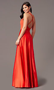 Image of PromGirl long v-neck faux-wrap prom dress. Style: PG-F2009 Detail Image 1