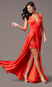 Image of PromGirl long v-neck faux-wrap prom dress. Style: PG-F2009 Detail Image 2