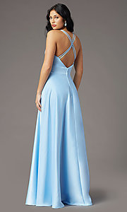 Image of PromGirl long v-neck faux-wrap prom dress. Style: PG-F2009 Detail Image 6