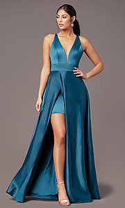 Image of PromGirl long v-neck faux-wrap prom dress. Style: PG-F2009 Front Image